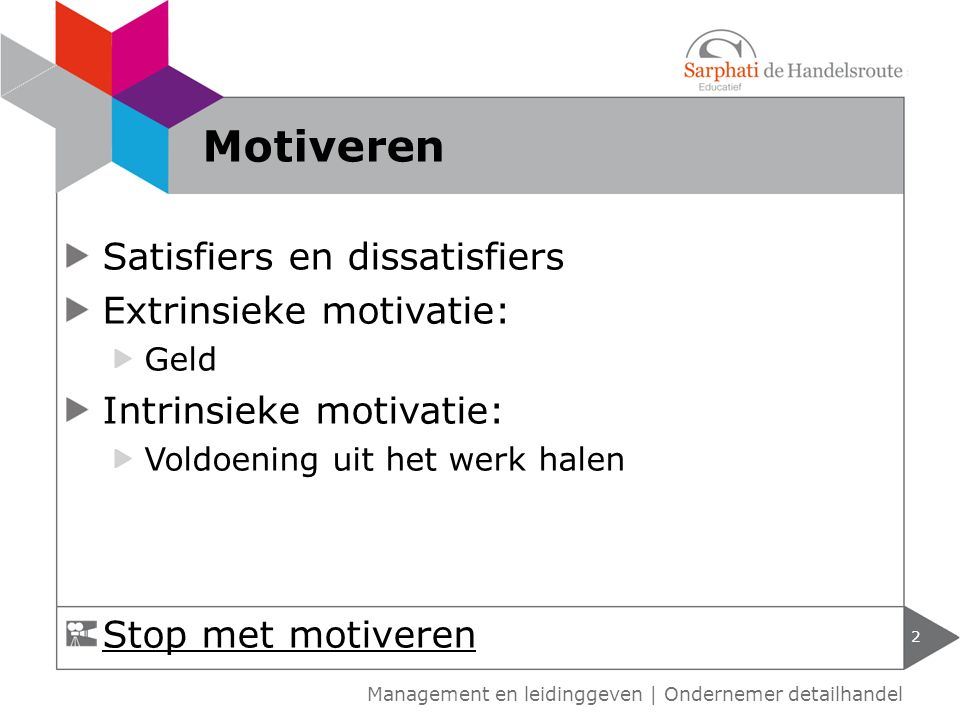 Motiveren Satisfiers en dissatisfiers Extrinsieke motivatie: