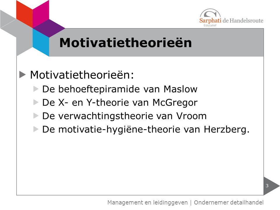 Motivatietheorieën Motivatietheorieën: De behoeftepiramide van Maslow