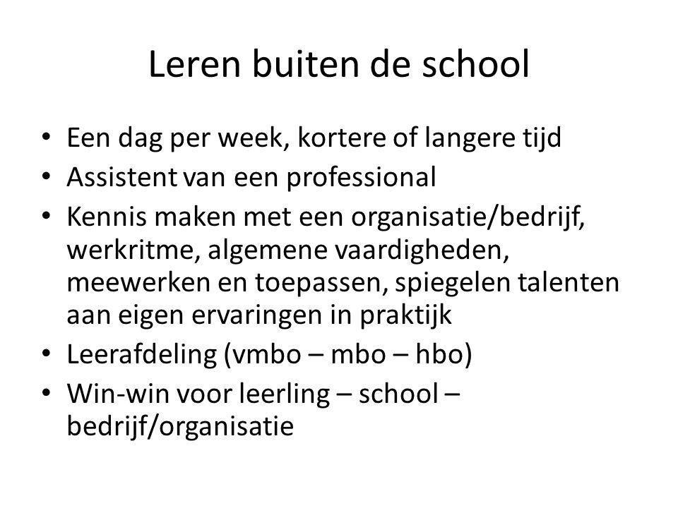 Leren buiten de school Een dag per week, kortere of langere tijd