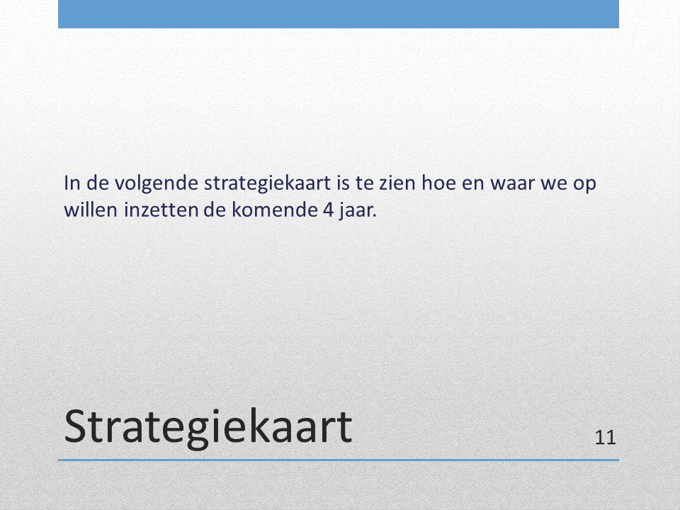 In de volgende strategiekaart is te zien hoe en waar we op willen inzetten de komende 4 jaar.
