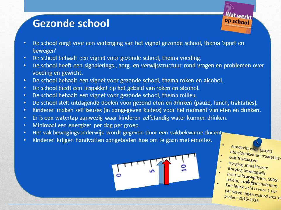 Gezonde school De school zorgt voor een verlenging van het vignet gezonde school, thema 'sport en bewegen'