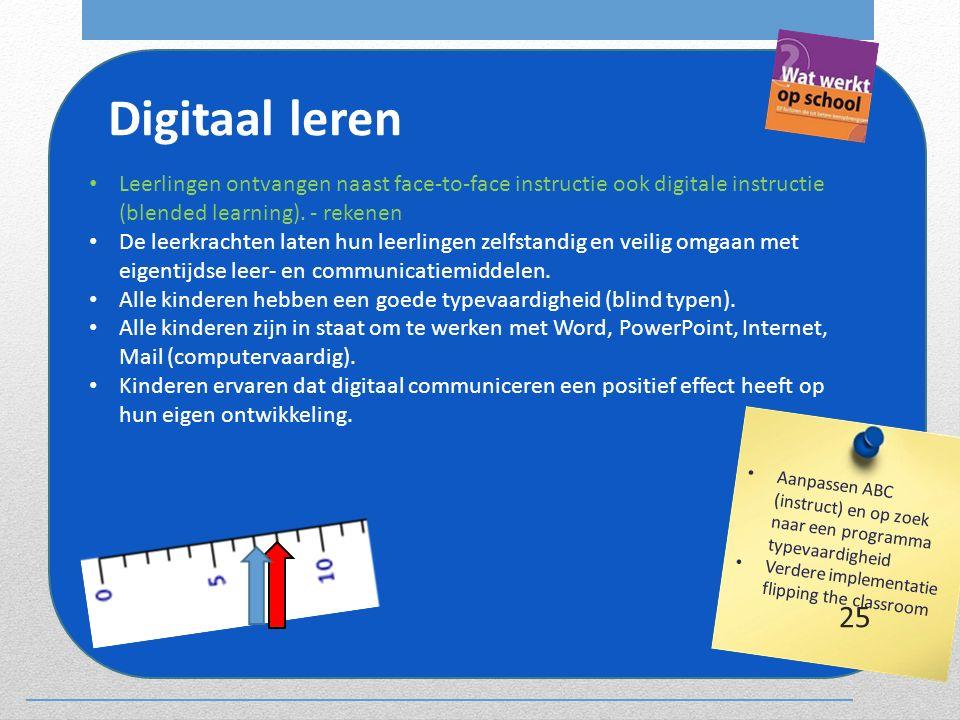 Digitaal leren Leerlingen ontvangen naast face-to-face instructie ook digitale instructie (blended learning). - rekenen.