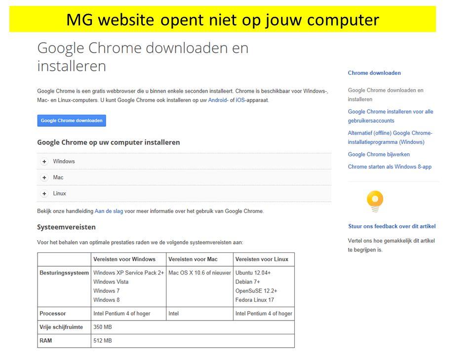 MG website opent niet op jouw computer