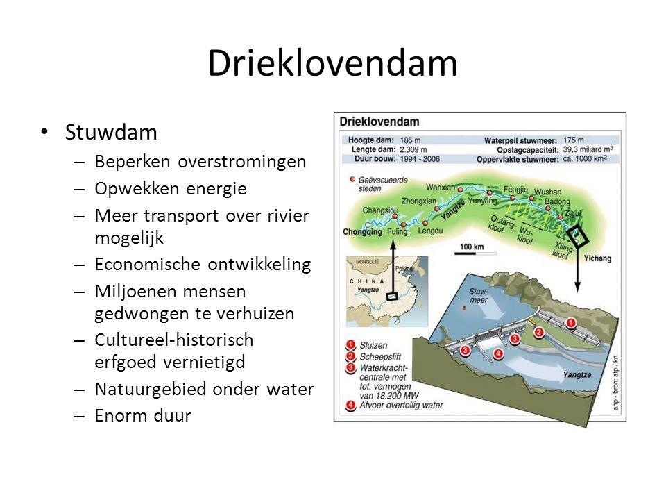 Drieklovendam Stuwdam Beperken overstromingen Opwekken energie