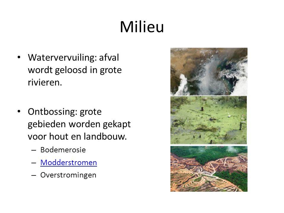 Milieu Watervervuiling: afval wordt geloosd in grote rivieren.
