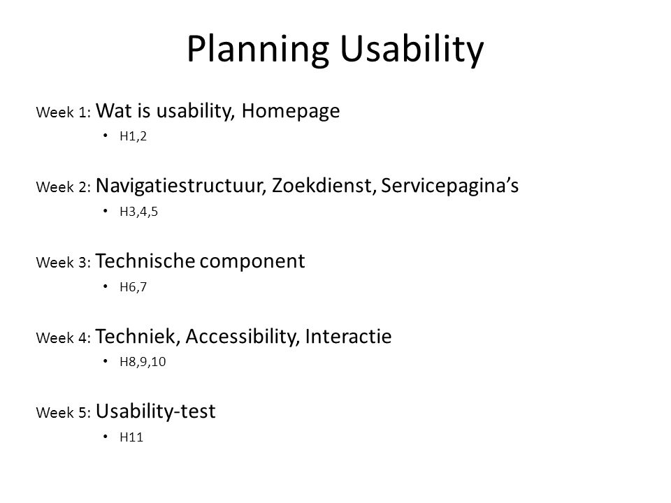 Planning Usability Week 1: Wat is usability, Homepage