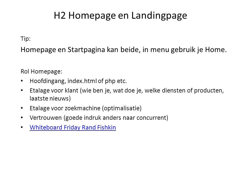 H2 Homepage en Landingpage