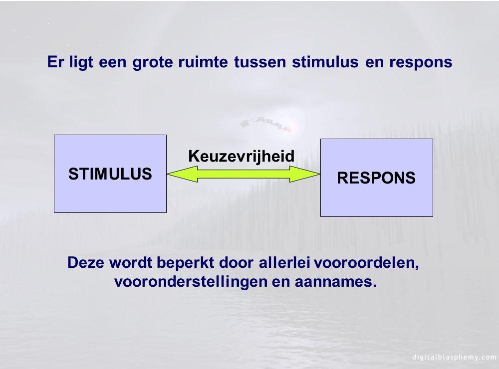 Er ligt een grote ruimte tussen stimulus en respons