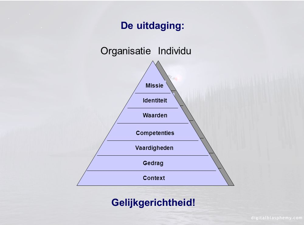 De uitdaging: Organisatie Individu Gelijkgerichtheid! Missie
