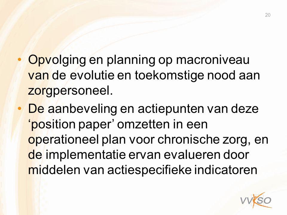 Opvolging en planning op macroniveau van de evolutie en toekomstige nood aan zorgpersoneel.