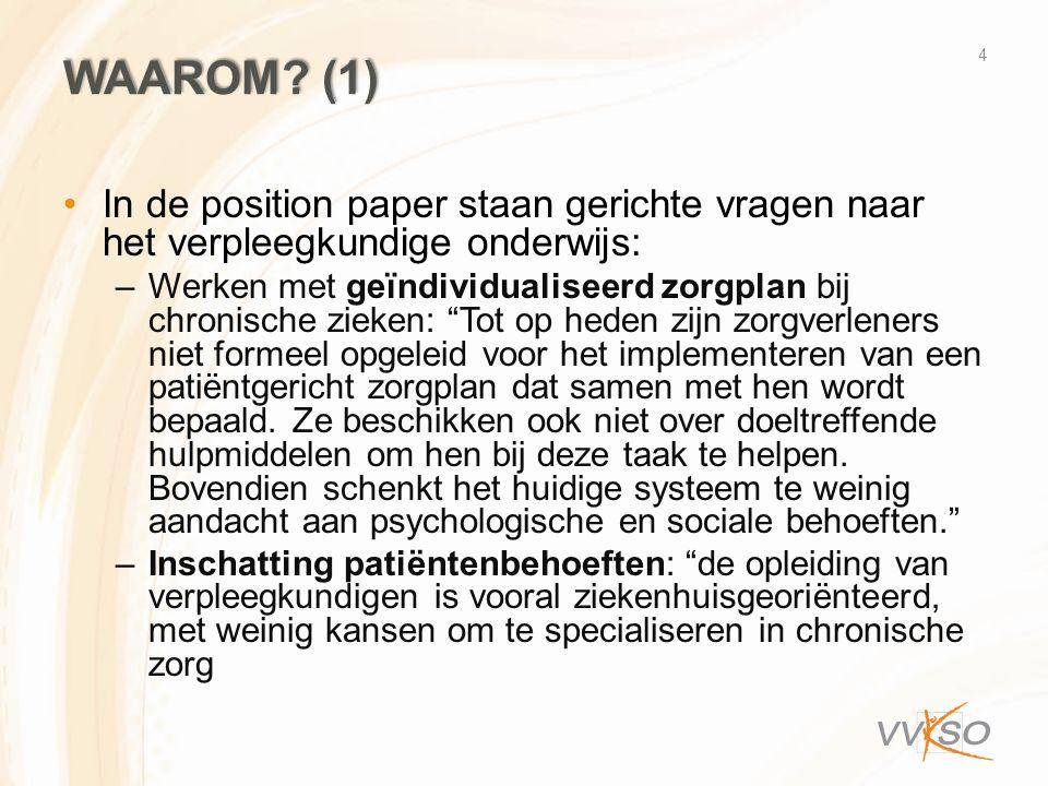 Waarom (1) In de position paper staan gerichte vragen naar het verpleegkundige onderwijs:
