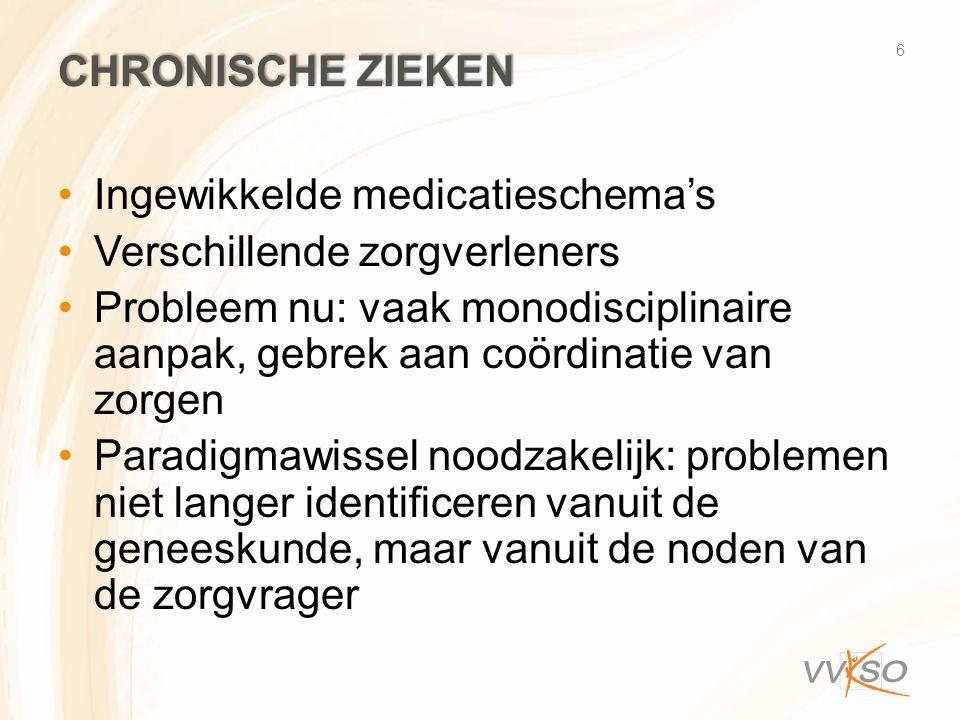Chronische zieken Ingewikkelde medicatieschema's. Verschillende zorgverleners.