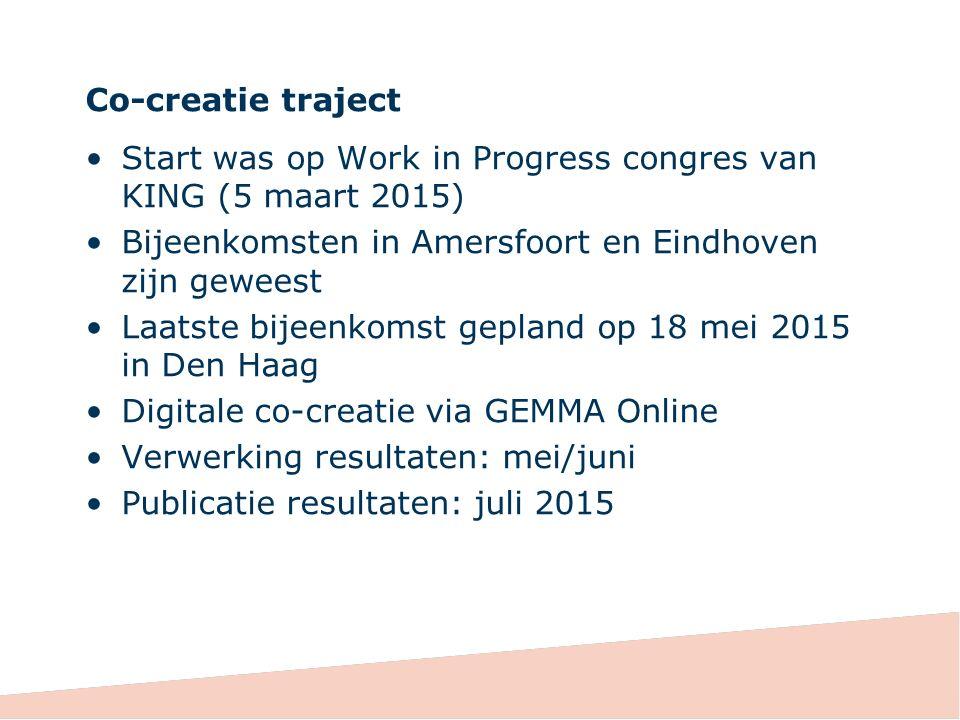Co-creatie traject Start was op Work in Progress congres van KING (5 maart 2015) Bijeenkomsten in Amersfoort en Eindhoven zijn geweest.