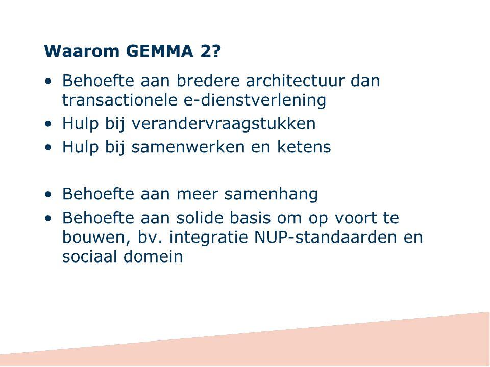 Waarom GEMMA 2 Behoefte aan bredere architectuur dan transactionele e-dienstverlening. Hulp bij verandervraagstukken.