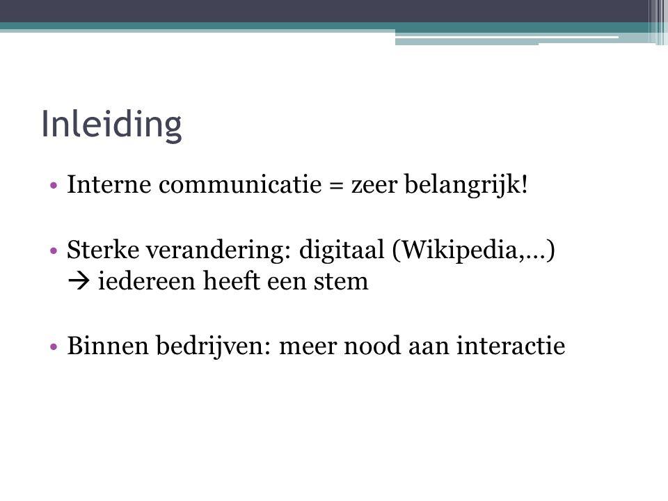 Inleiding Interne communicatie = zeer belangrijk!
