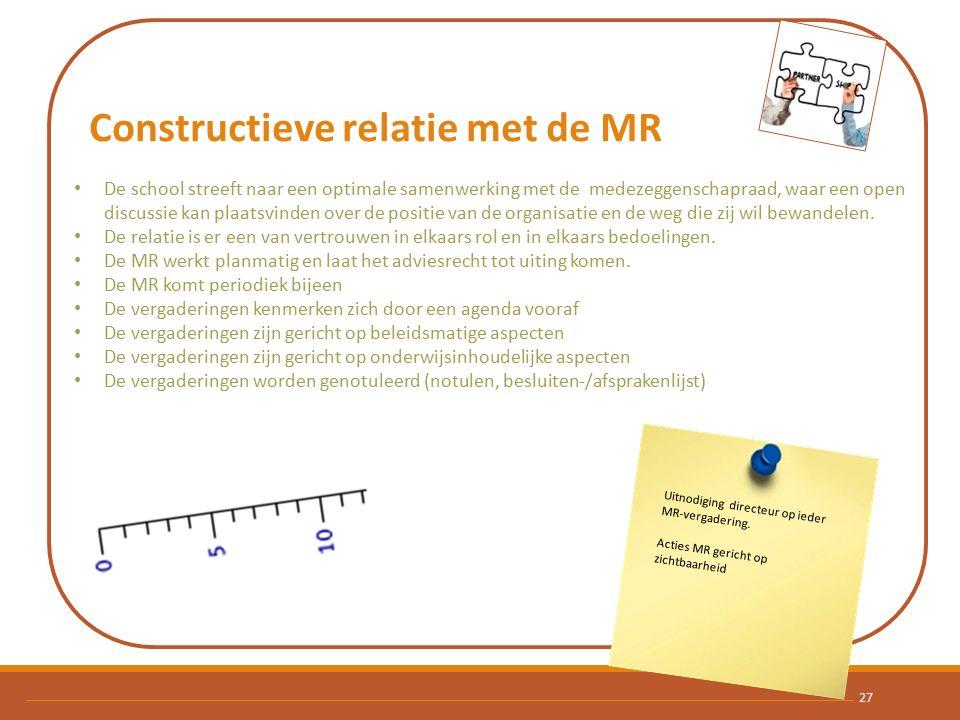 Constructieve relatie met de MR