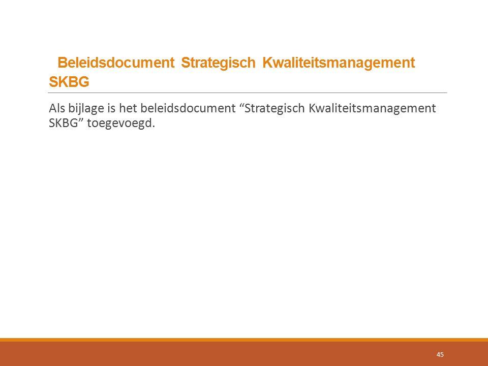 Beleidsdocument Strategisch Kwaliteitsmanagement SKBG