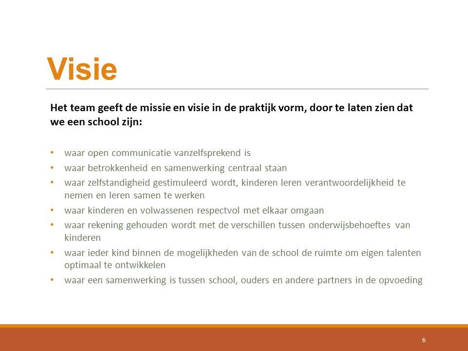 Visie Het team geeft de missie en visie in de praktijk vorm, door te laten zien dat we een school zijn: