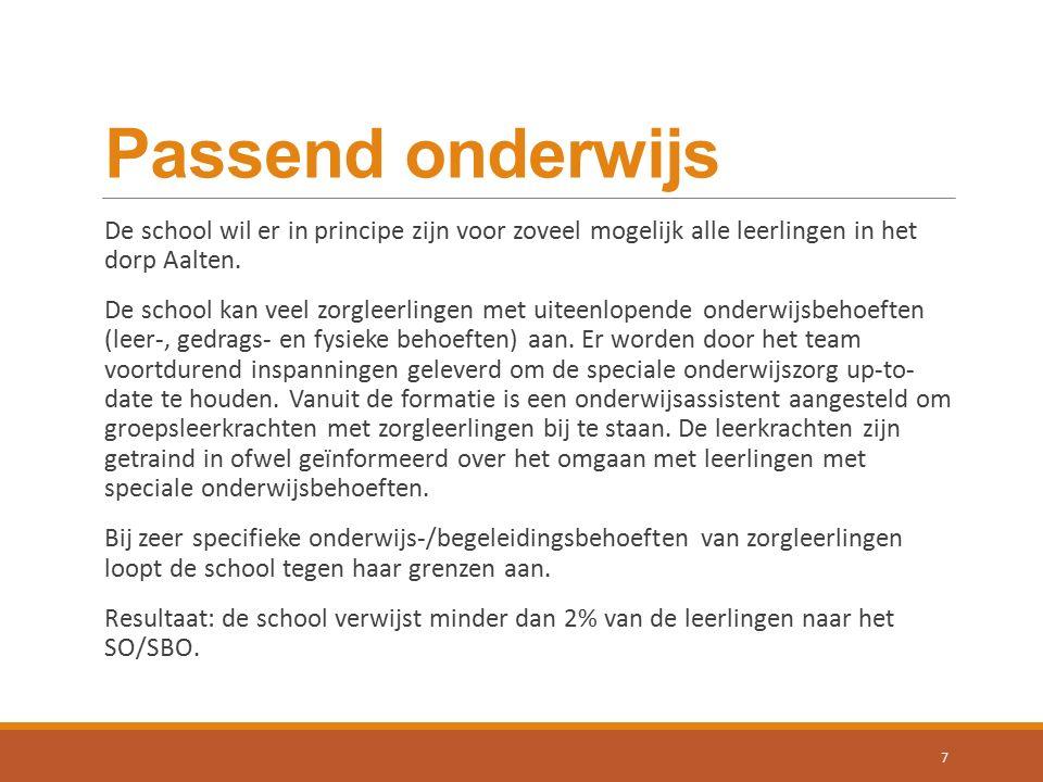 Passend onderwijs De school wil er in principe zijn voor zoveel mogelijk alle leerlingen in het dorp Aalten.