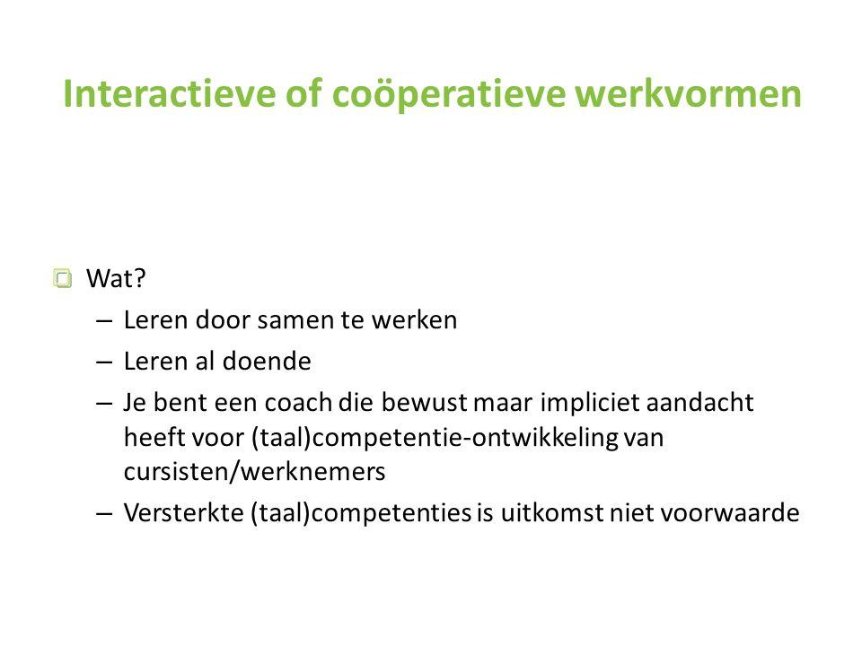 Interactieve of coöperatieve werkvormen