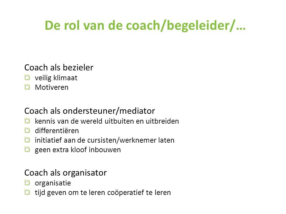 De rol van de coach/begeleider/…