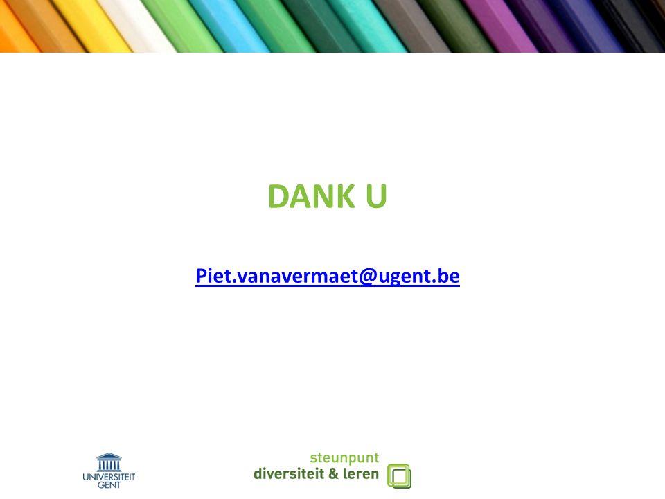 DANK U Piet.vanavermaet@ugent.be