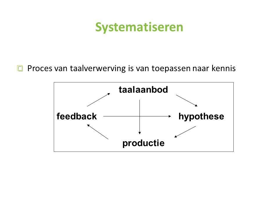 Systematiseren Proces van taalverwerving is van toepassen naar kennis