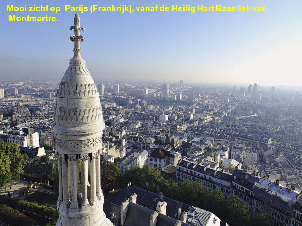 Mooi zicht op Paríjs (Frankrijk), vanaf de Heilig Hart Baseliek van