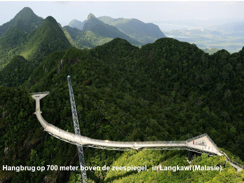 Hangbrug op 700 meter boven de zeespiegel, in Langkawi (Malasie).