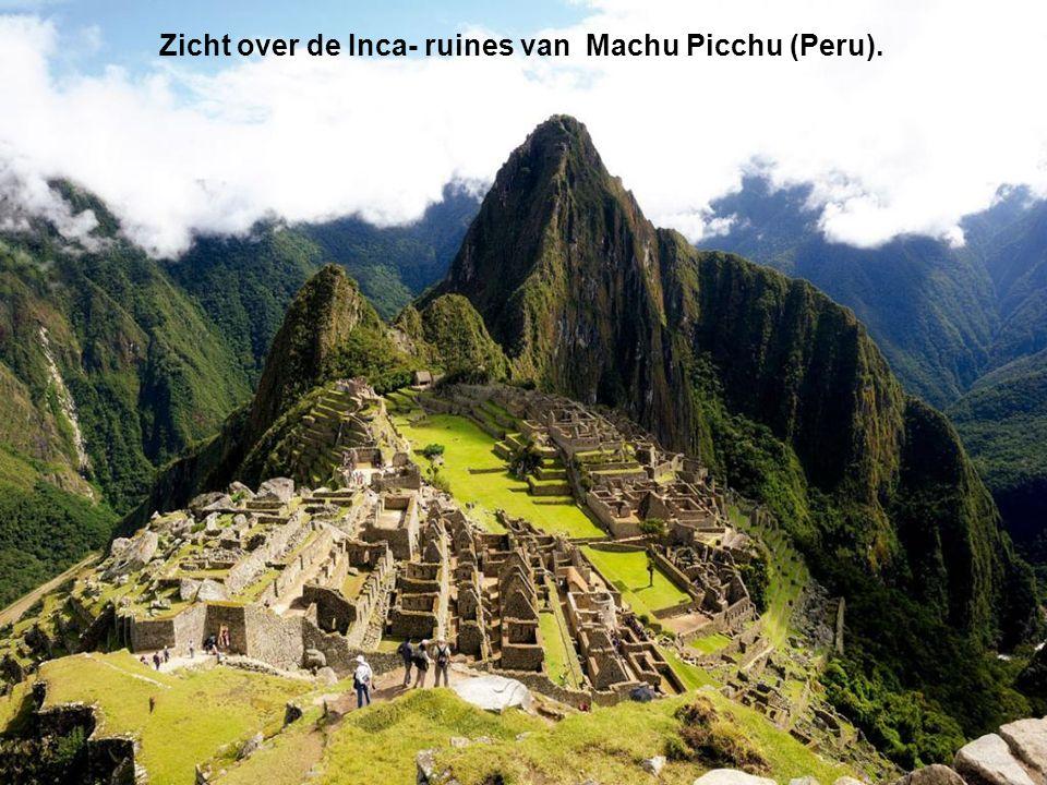 Zicht over de Inca- ruines van Machu Picchu (Peru).
