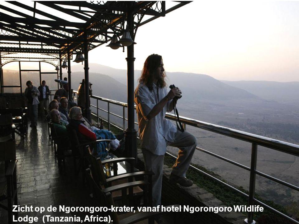 Zicht op de Ngorongoro-krater, vanaf hotel Ngorongoro Wildlife