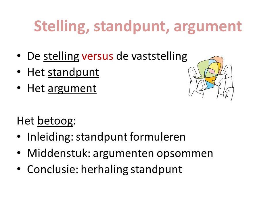 Stelling, standpunt, argument