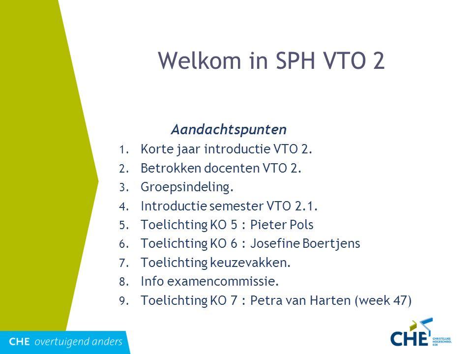 Welkom in SPH VTO 2 Aandachtspunten Korte jaar introductie VTO 2.