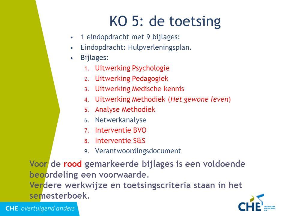 KO 5: de toetsing 1 eindopdracht met 9 bijlages: Eindopdracht: Hulpverleningsplan. Bijlages: Uitwerking Psychologie.