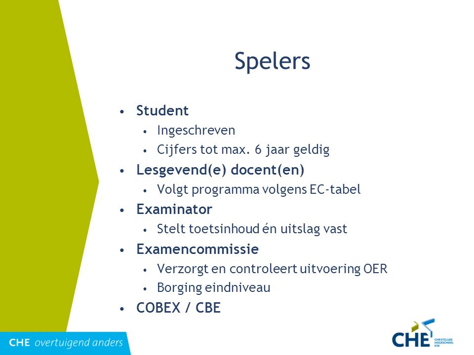 Spelers Student Lesgevend(e) docent(en) Examinator Examencommissie