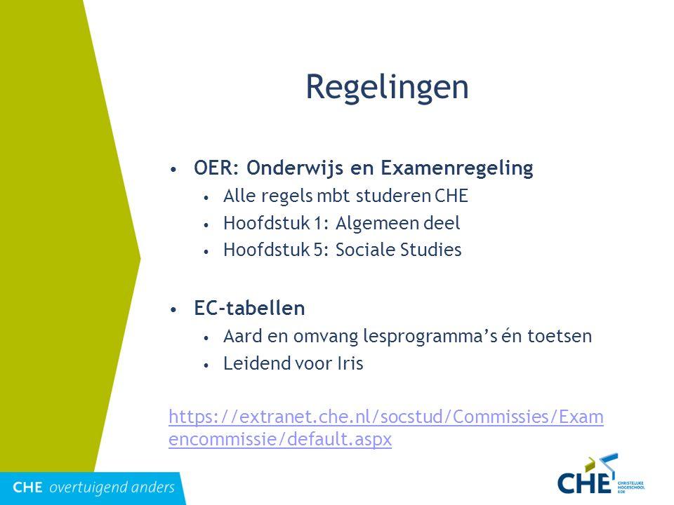 Regelingen OER: Onderwijs en Examenregeling EC-tabellen
