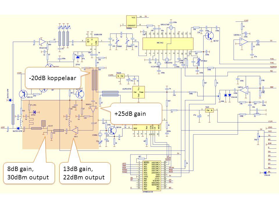 -20dB koppelaar +25dB gain 8dB gain, 30dBm output 13dB gain, 22dBm output