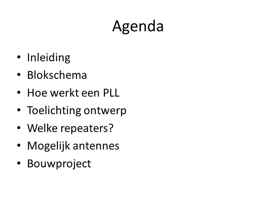 Agenda Inleiding Blokschema Hoe werkt een PLL Toelichting ontwerp