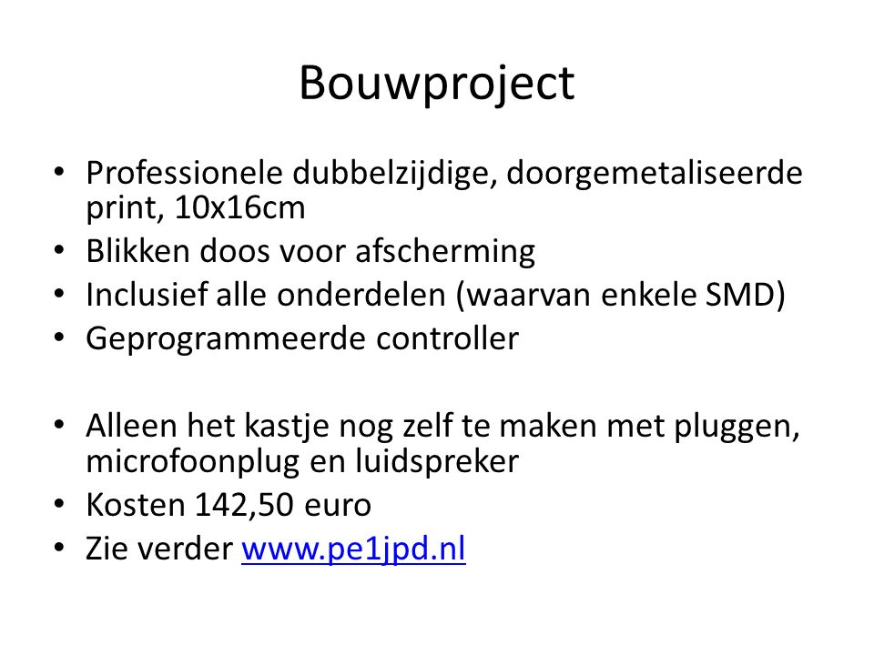 Bouwproject Professionele dubbelzijdige, doorgemetaliseerde print, 10x16cm. Blikken doos voor afscherming.