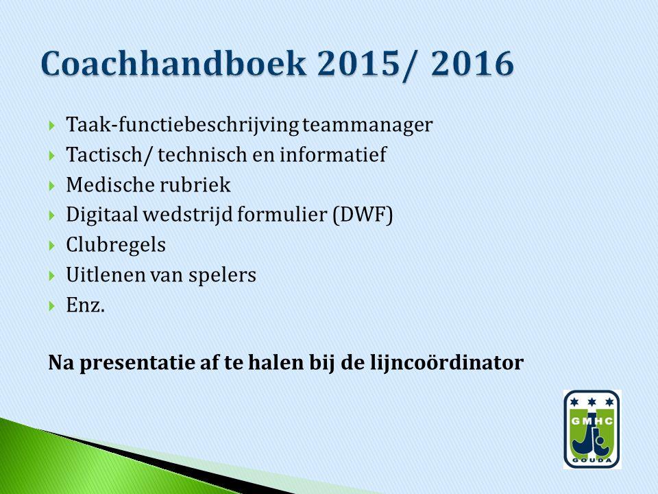 Coachhandboek 2015/ 2016 Taak-functiebeschrijving teammanager