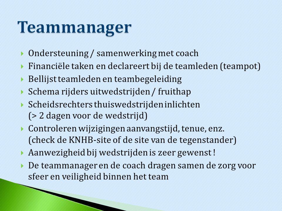 Teammanager Ondersteuning / samenwerking met coach