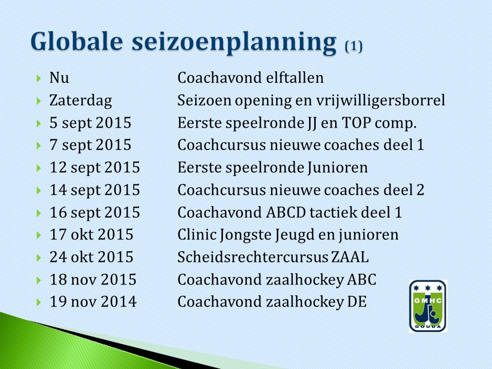 Globale seizoenplanning (1)