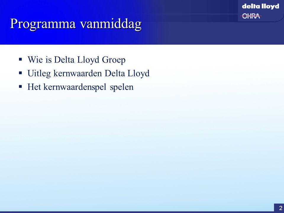 Programma vanmiddag Wie is Delta Lloyd Groep