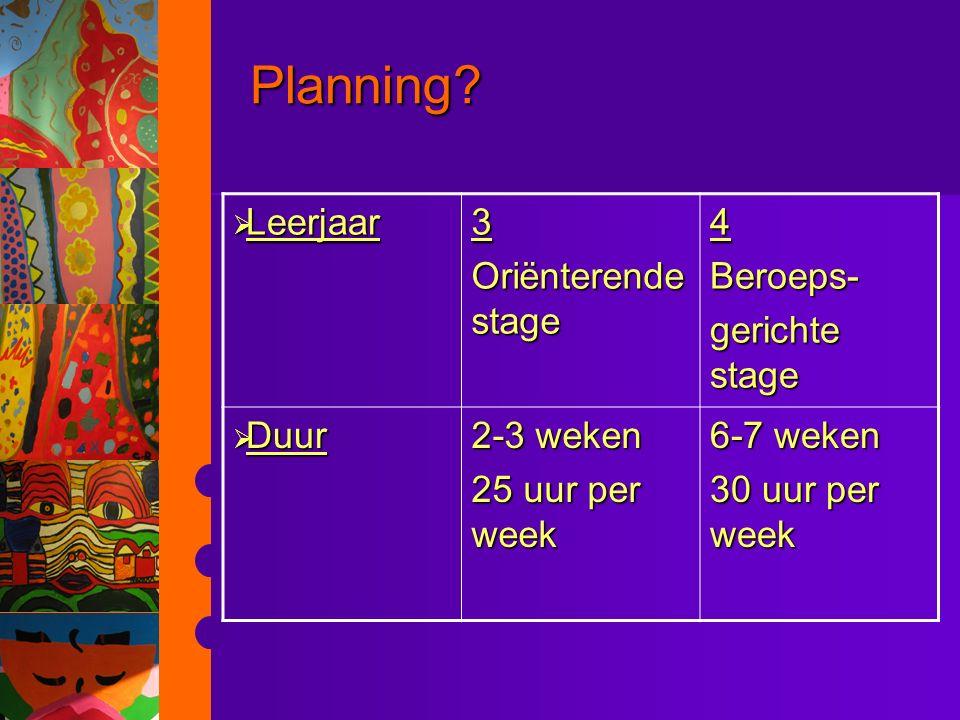 Planning Leerjaar 3 Oriënterende stage 4 Beroeps- gerichte stage Duur