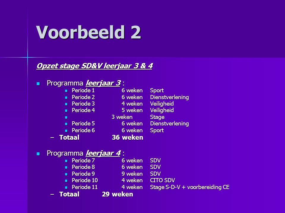 Voorbeeld 2 Opzet stage SD&V leerjaar 3 & 4 Programma leerjaar 3 :