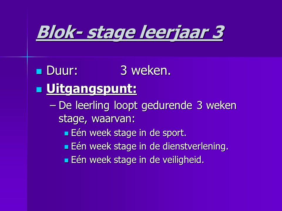 Blok- stage leerjaar 3 Duur: 3 weken. Uitgangspunt: