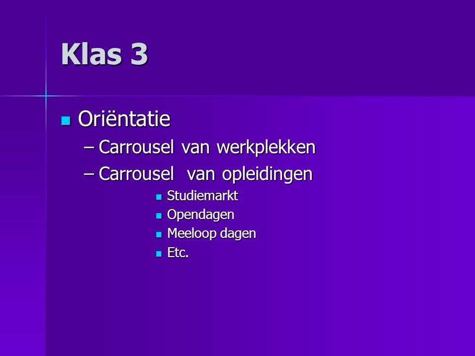 Klas 3 Oriëntatie Carrousel van werkplekken Carrousel van opleidingen