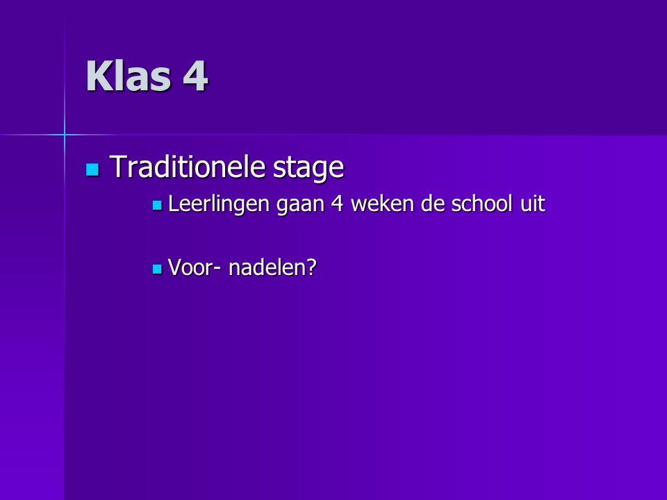 Klas 4 Traditionele stage Leerlingen gaan 4 weken de school uit