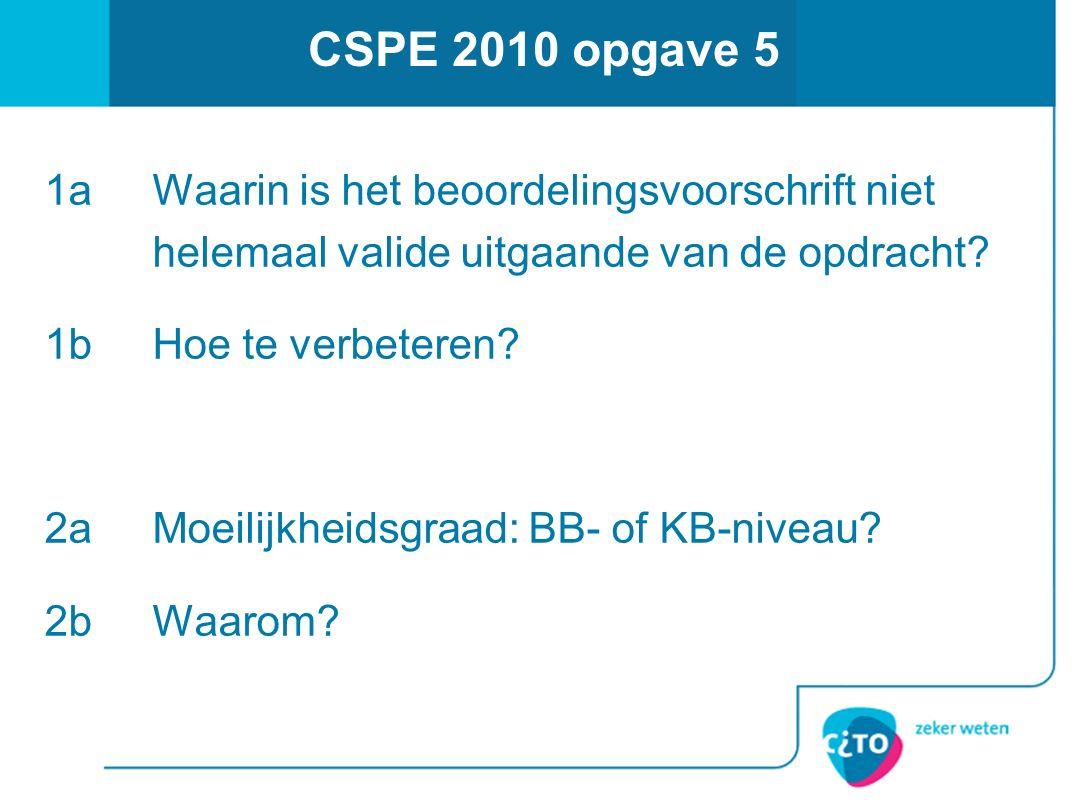 CSPE 2010 opgave 5 1a Waarin is het beoordelingsvoorschrift niet