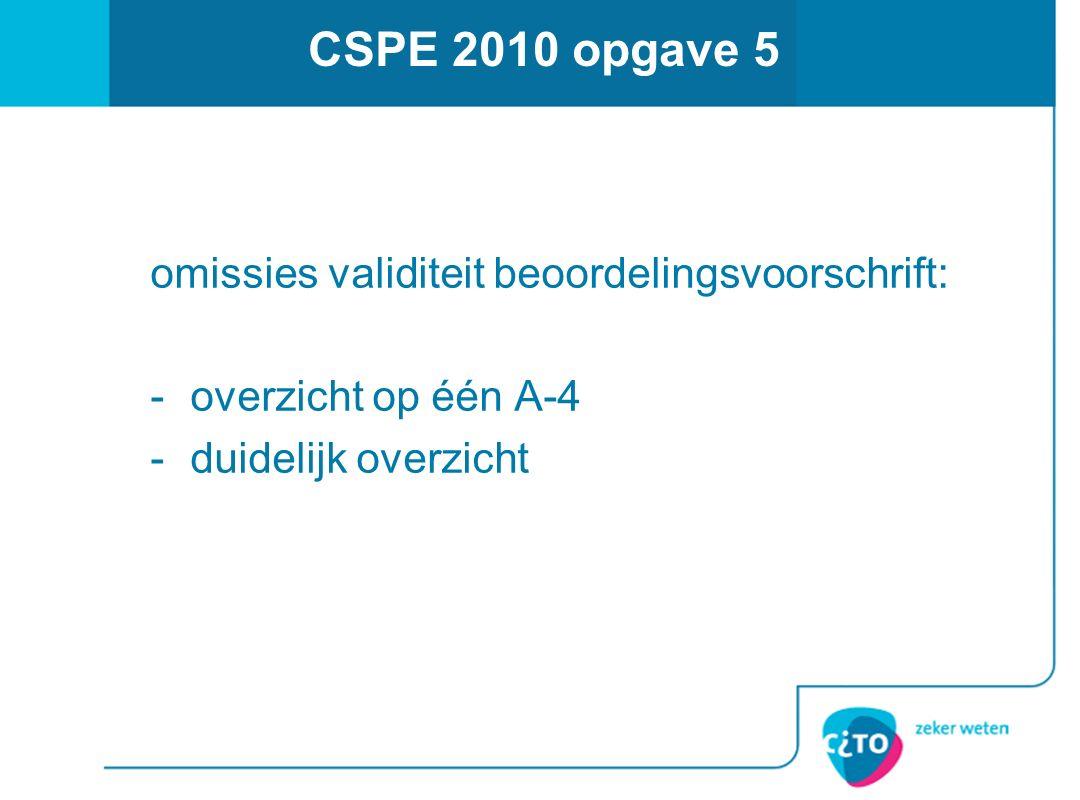 CSPE 2010 opgave 5 omissies validiteit beoordelingsvoorschrift: